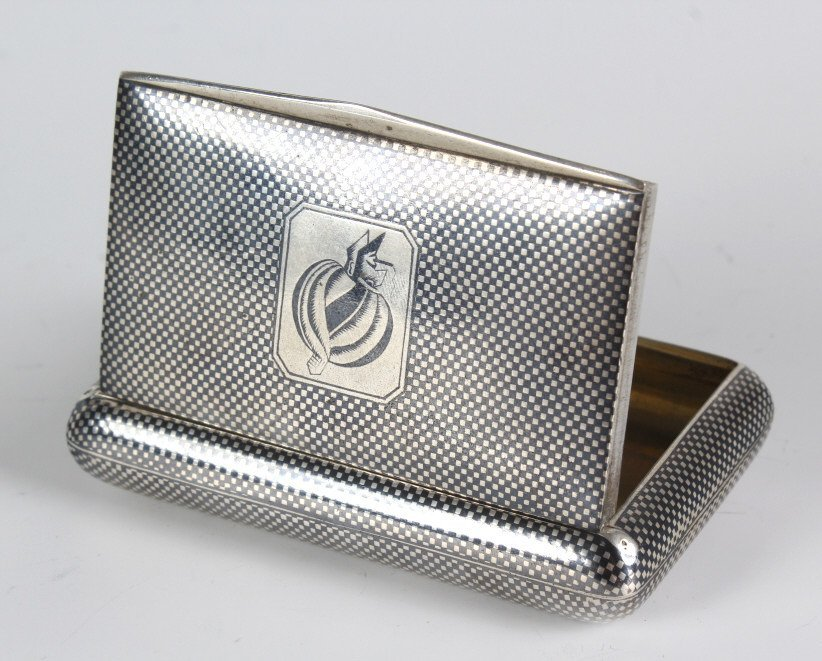 Vintage German 800 Silver Niello Tobacco Box