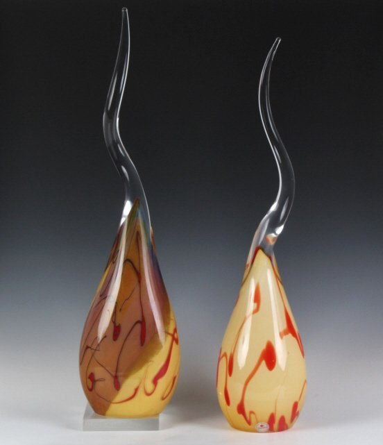 Modernist Pair Studio Signed Art Glass Sculptures