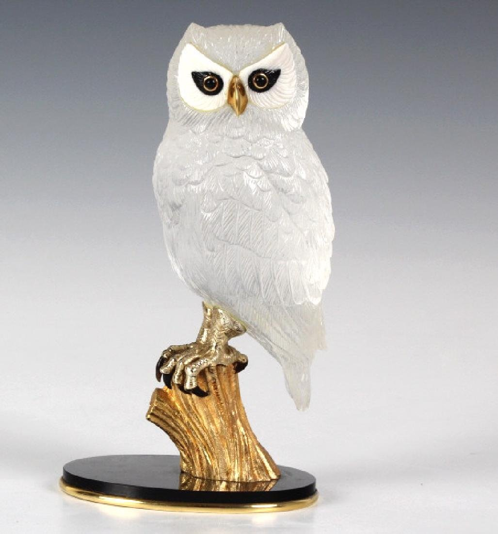 Important Boucheron Rock Crystal 18k Owl Statue