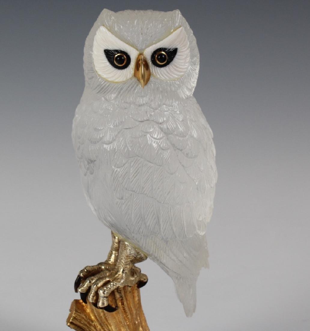 Important Boucheron Rock Crystal 18k Owl Statue - 2