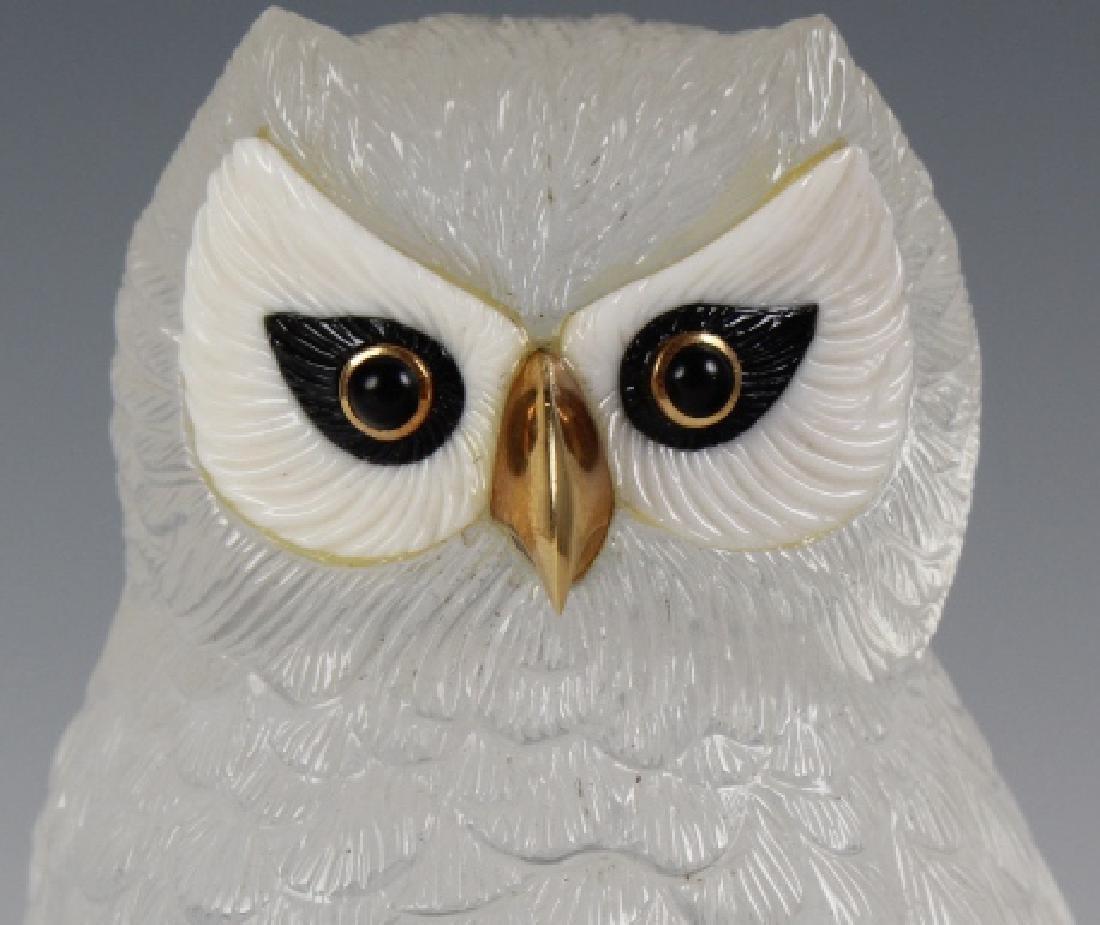 Important Boucheron Rock Crystal 18k Owl Statue - 3