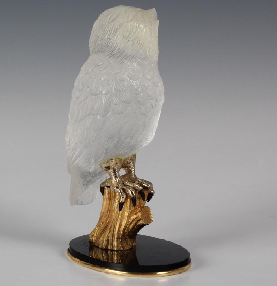 Important Boucheron Rock Crystal 18k Owl Statue - 5