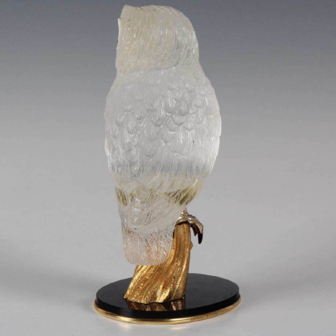 Important Boucheron Rock Crystal 18k Owl Statue - 6