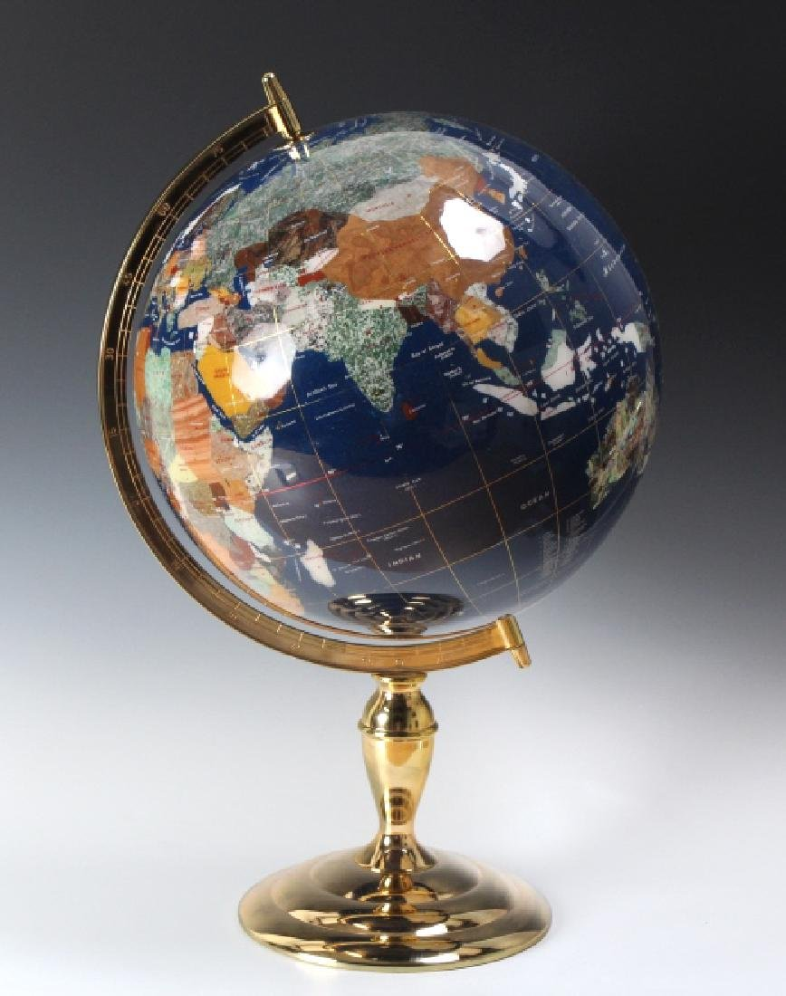Fine Semi Precious Gemstone Inlaid Desktop Globe