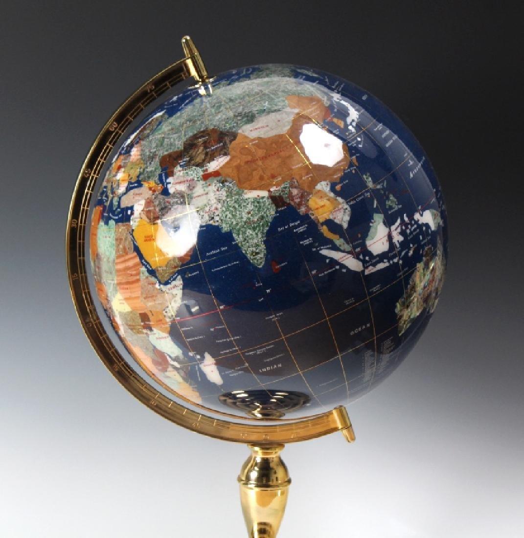 Fine Semi Precious Gemstone Inlaid Desktop Globe - 2