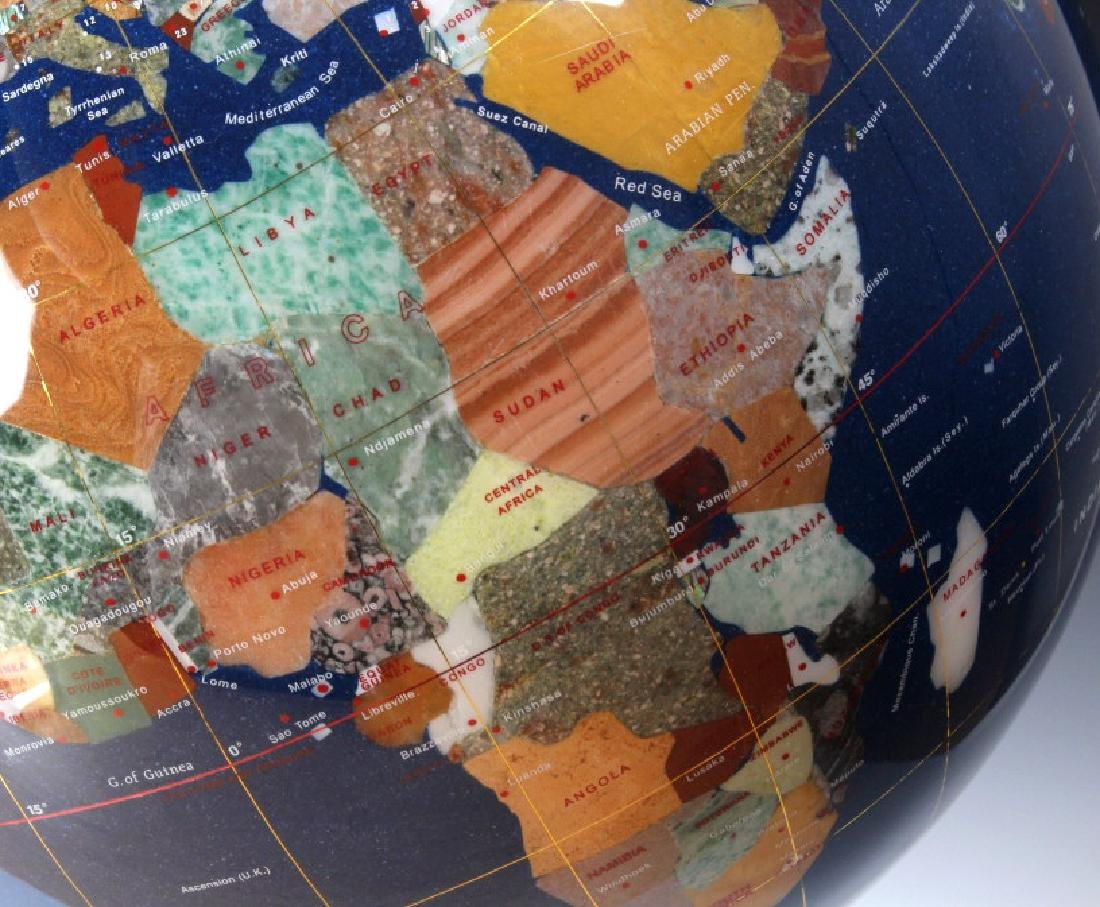 Fine Semi Precious Gemstone Inlaid Desktop Globe - 5