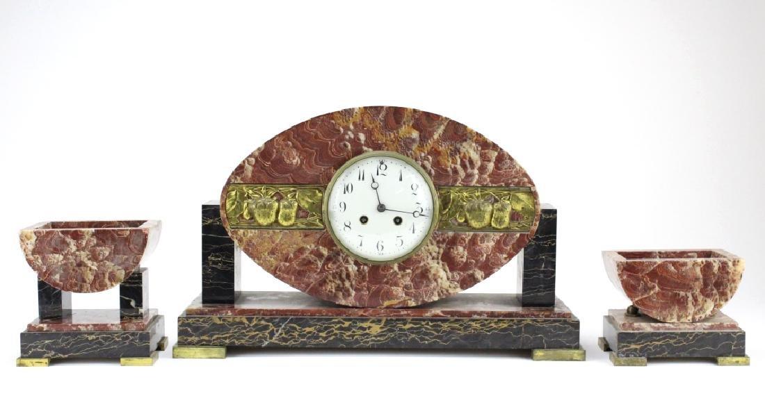 C.H. Paris French Marble Clock w/ Garnitures Set