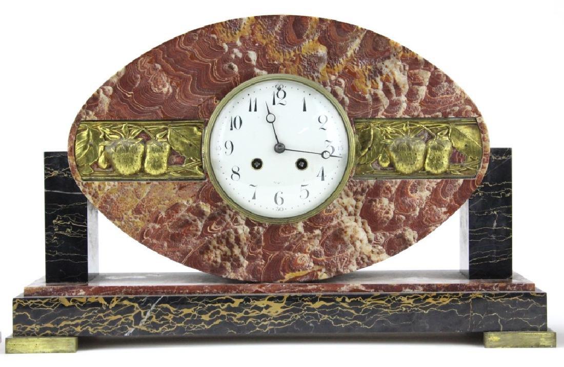 C.H. Paris French Marble Clock w/ Garnitures Set - 2