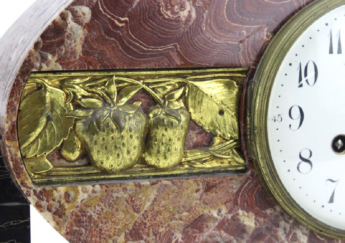 C.H. Paris French Marble Clock w/ Garnitures Set - 3