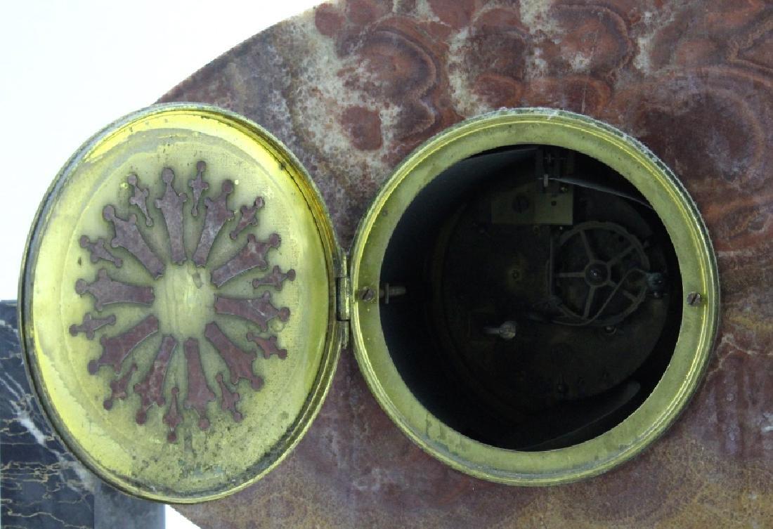 C.H. Paris French Marble Clock w/ Garnitures Set - 4
