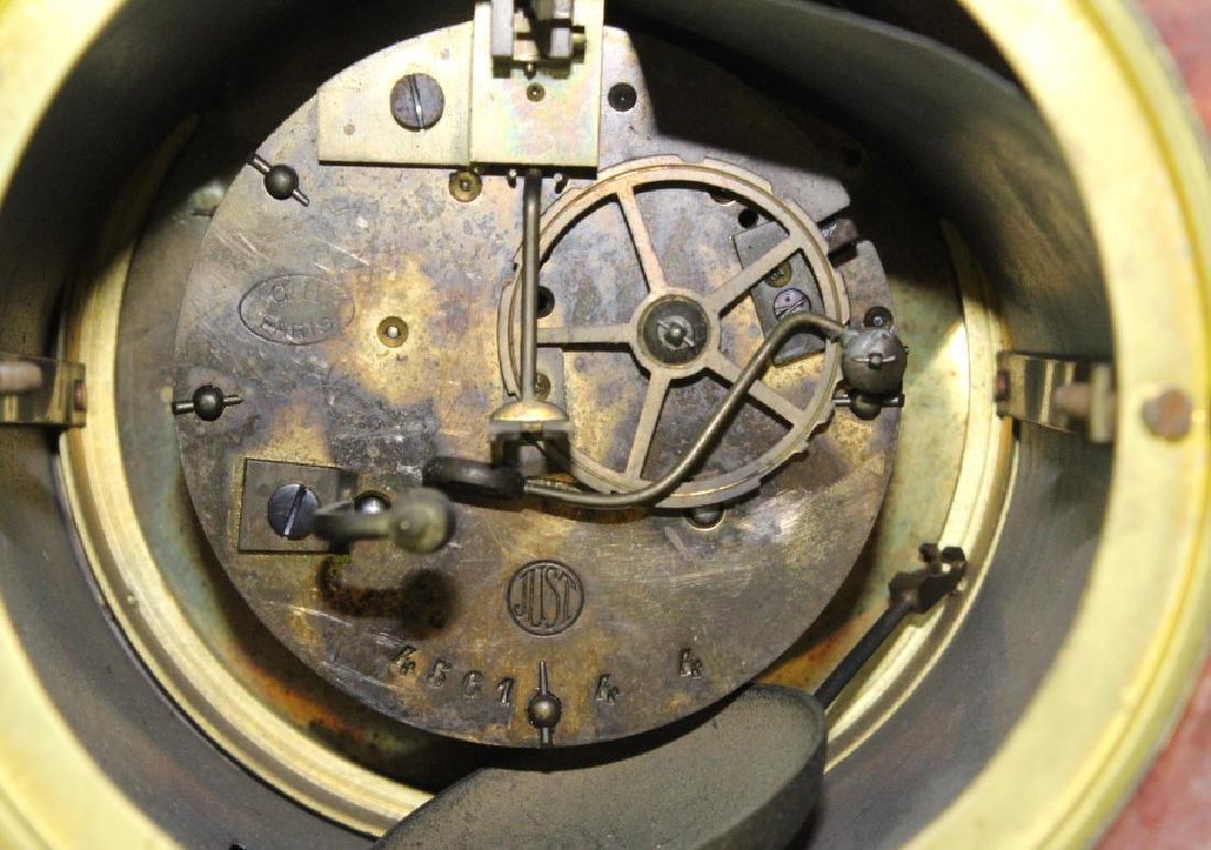 C.H. Paris French Marble Clock w/ Garnitures Set - 5