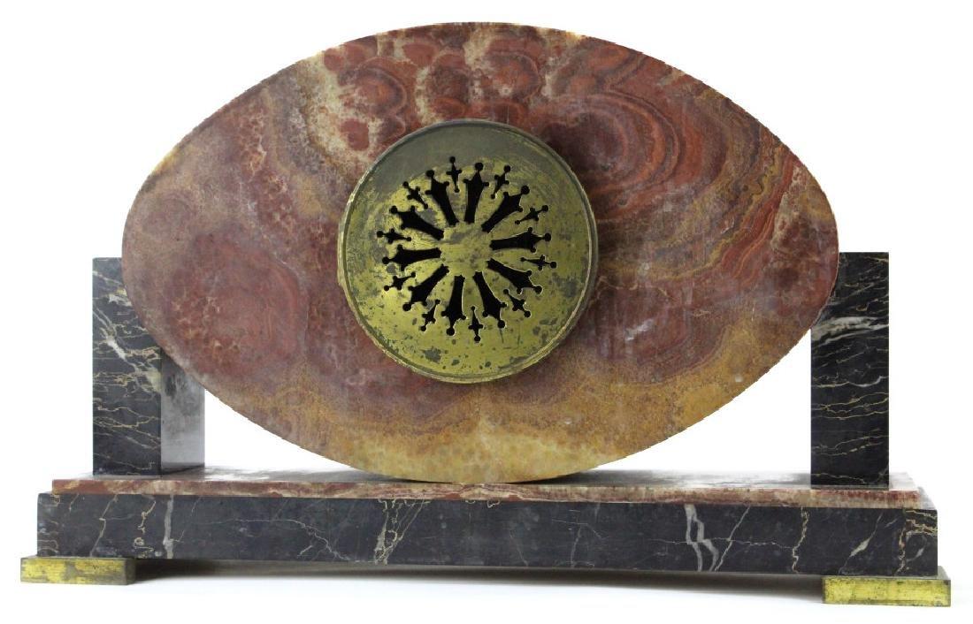C.H. Paris French Marble Clock w/ Garnitures Set - 6