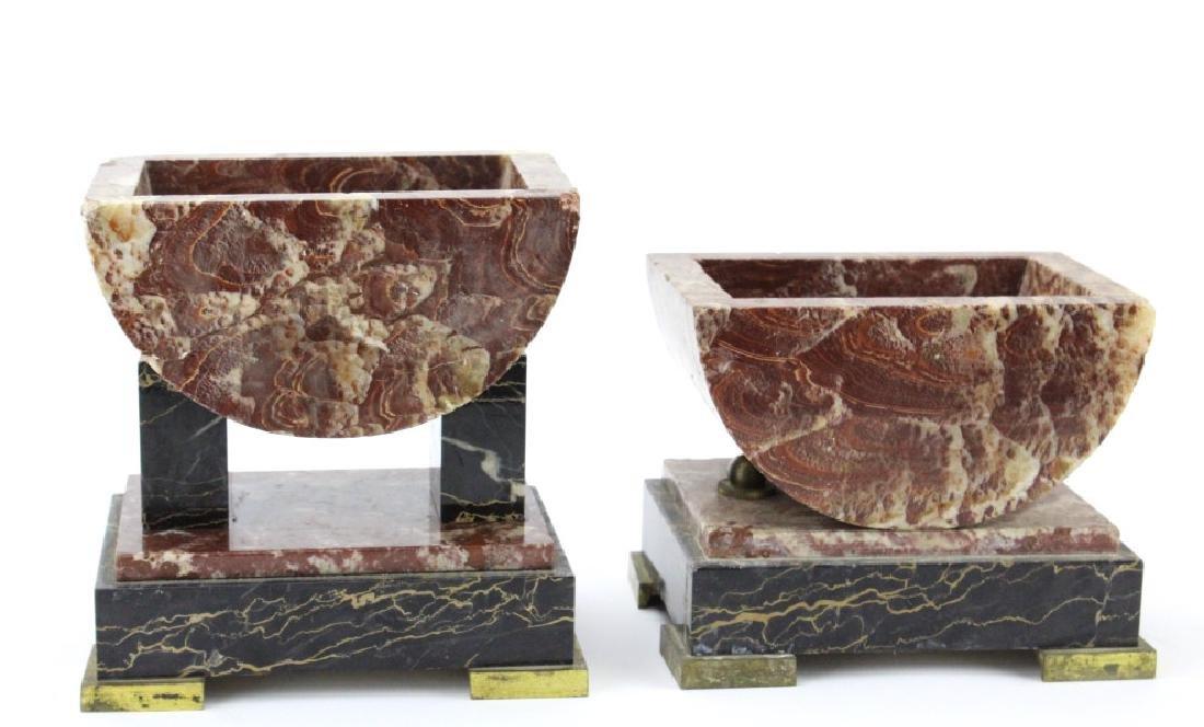 C.H. Paris French Marble Clock w/ Garnitures Set - 7