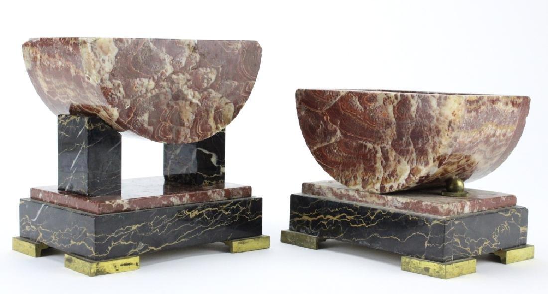 C.H. Paris French Marble Clock w/ Garnitures Set - 8
