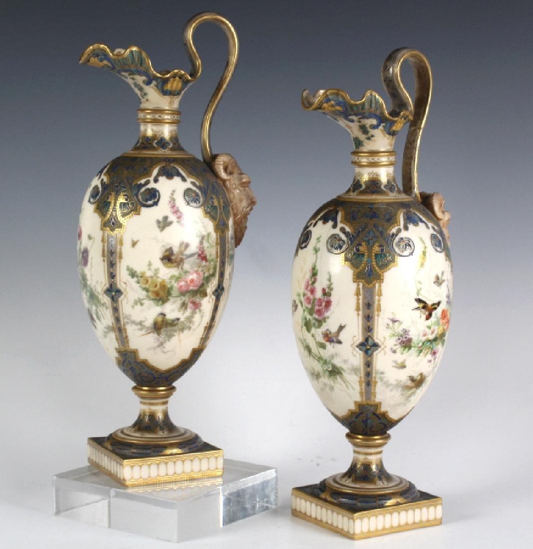 Antique Pair Royal Worcester Porcelain Urn Vases