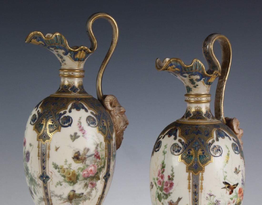 Antique Pair Royal Worcester Porcelain Urn Vases - 2