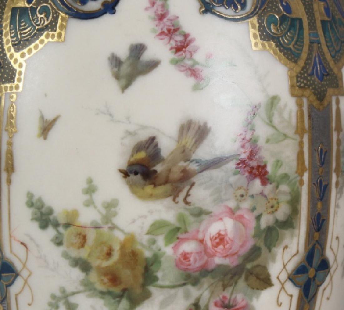 Antique Pair Royal Worcester Porcelain Urn Vases - 3