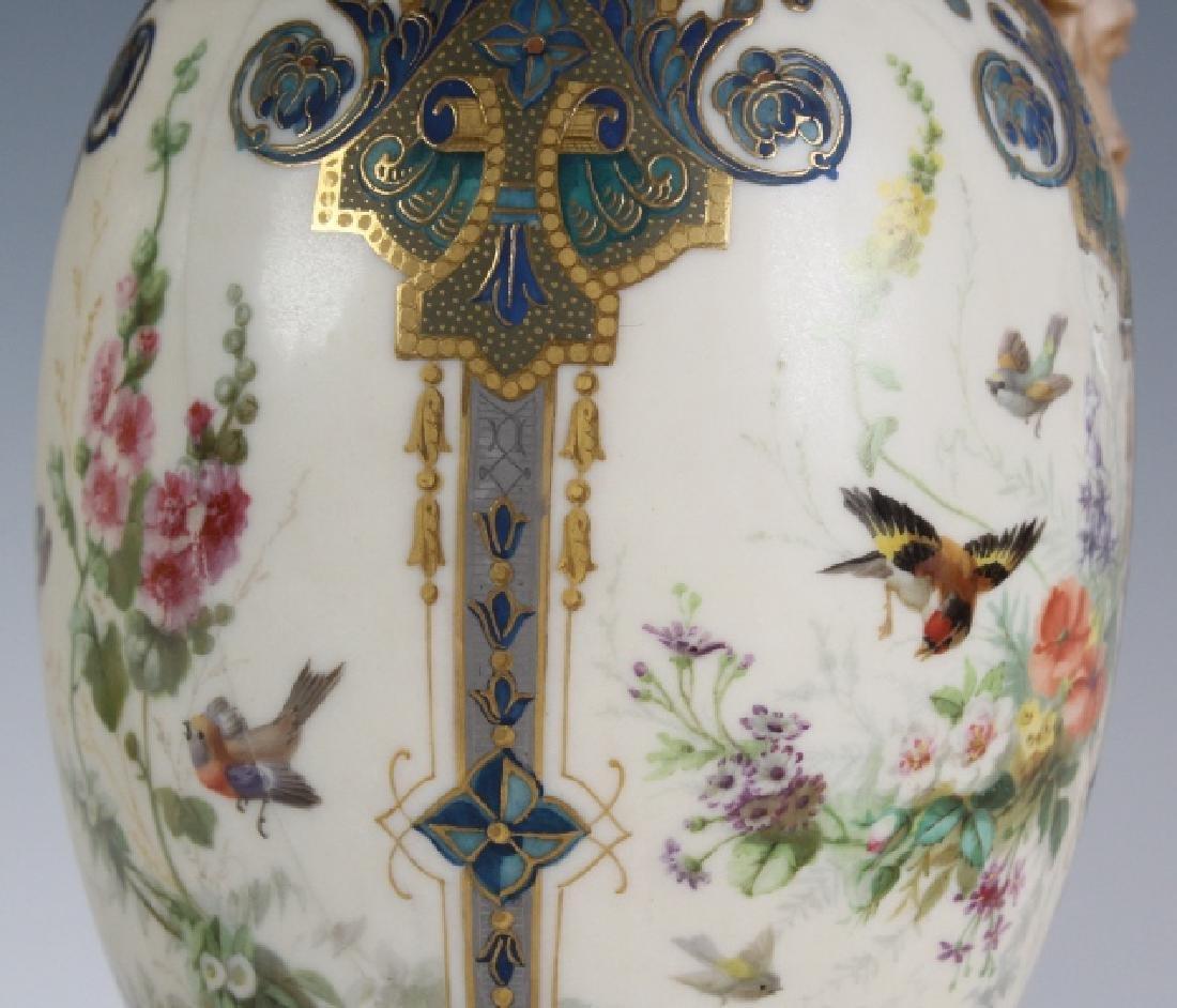 Antique Pair Royal Worcester Porcelain Urn Vases - 4