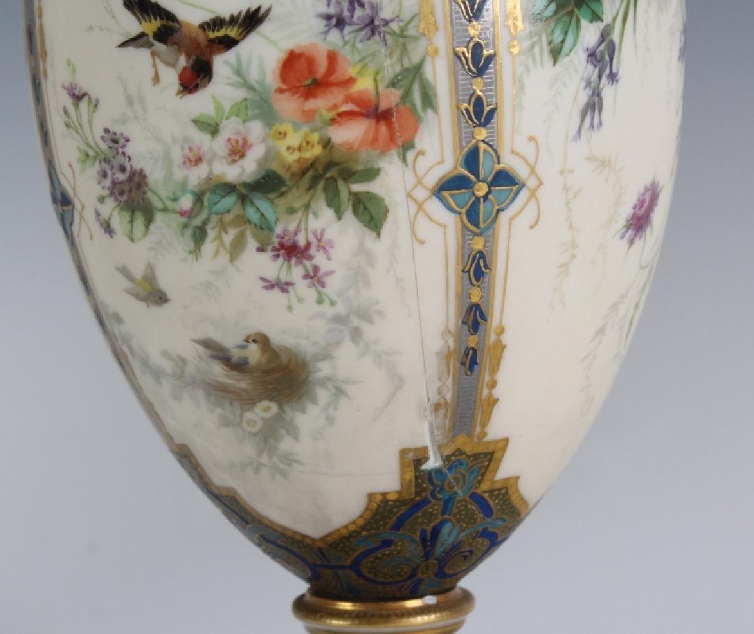 Antique Pair Royal Worcester Porcelain Urn Vases - 5