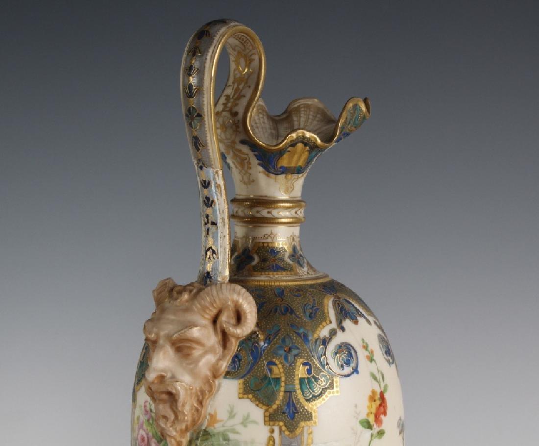 Antique Pair Royal Worcester Porcelain Urn Vases - 6