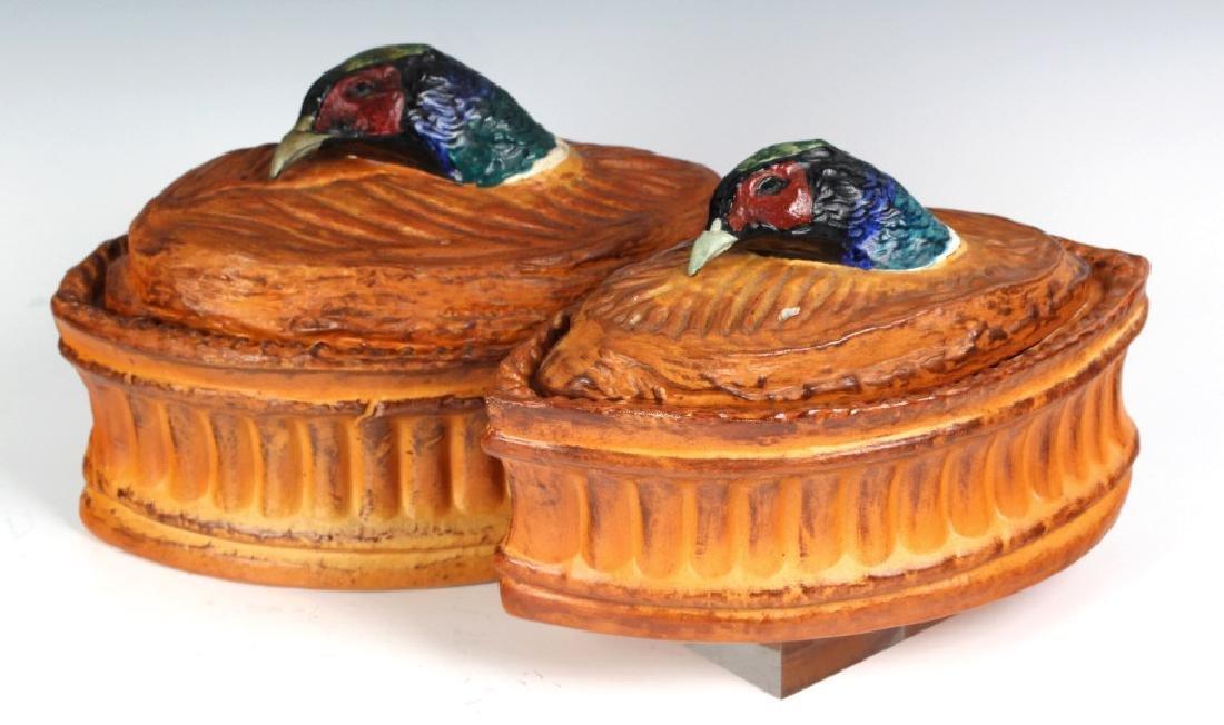 Pair Antique Pillivuyt French Pheasant Soup Tureen