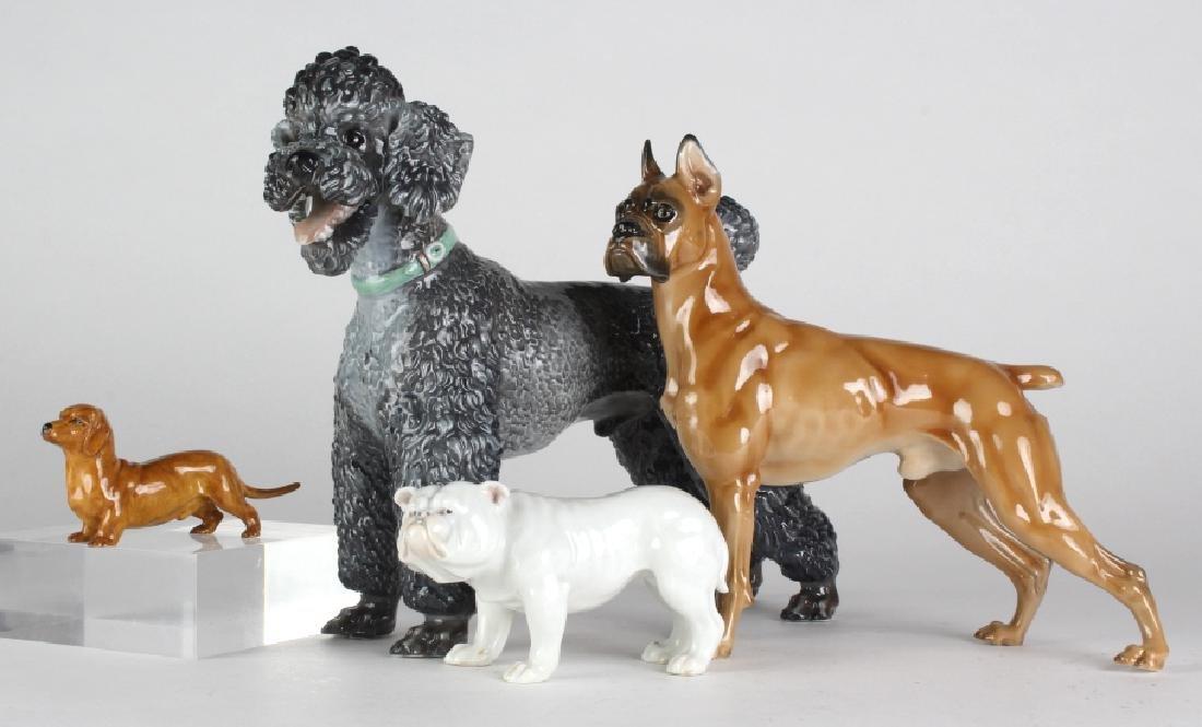 Porcelain Dog Figurine Poodle Boxer Bull Dachshund