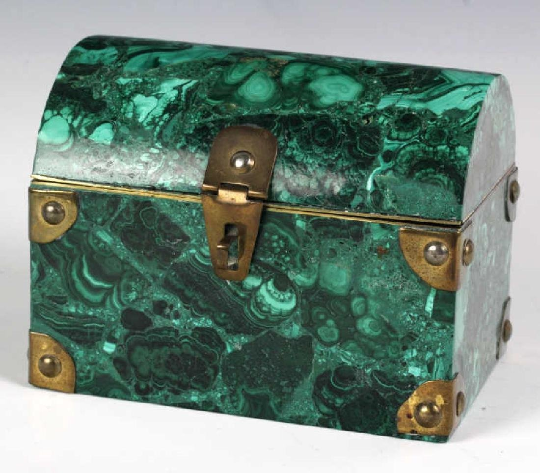 Rich Green Malachite Gemstone Treasure Chest Box