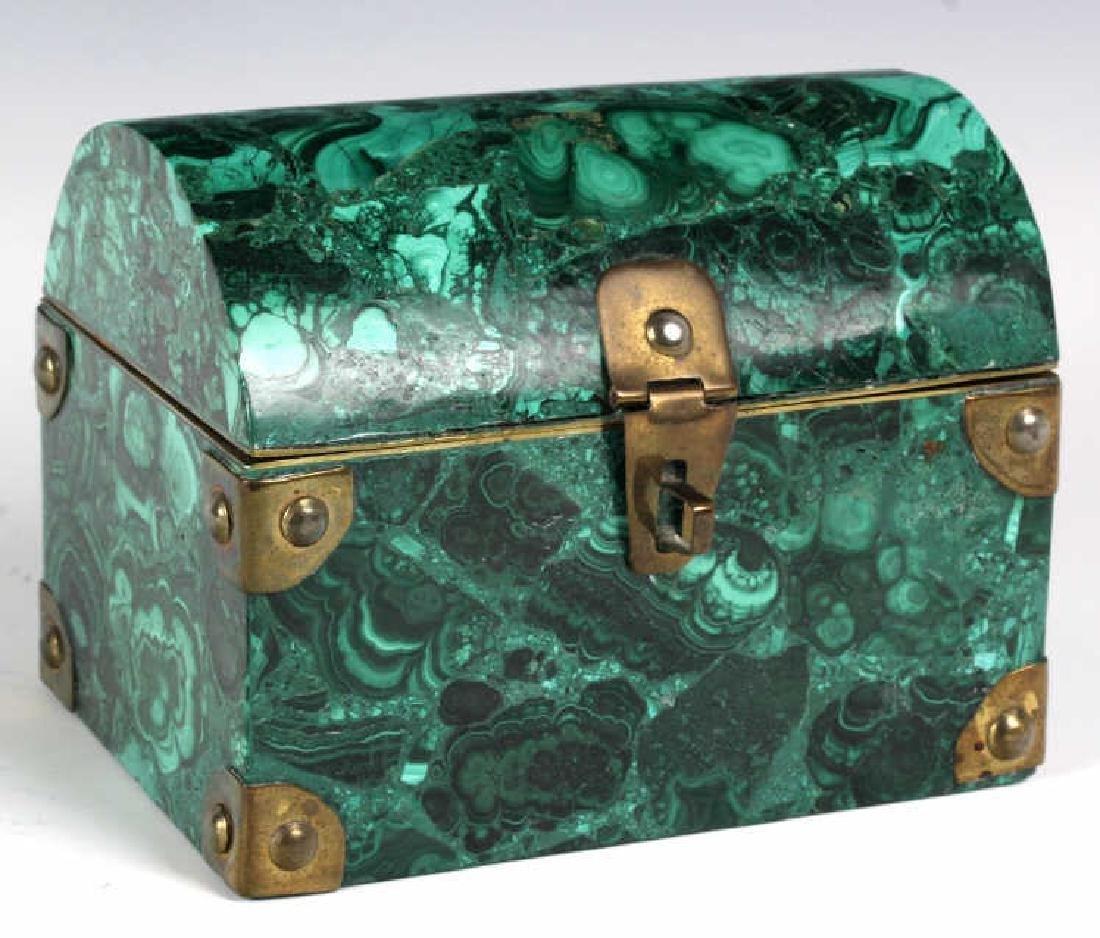 Rich Green Malachite Gemstone Treasure Chest Box - 2