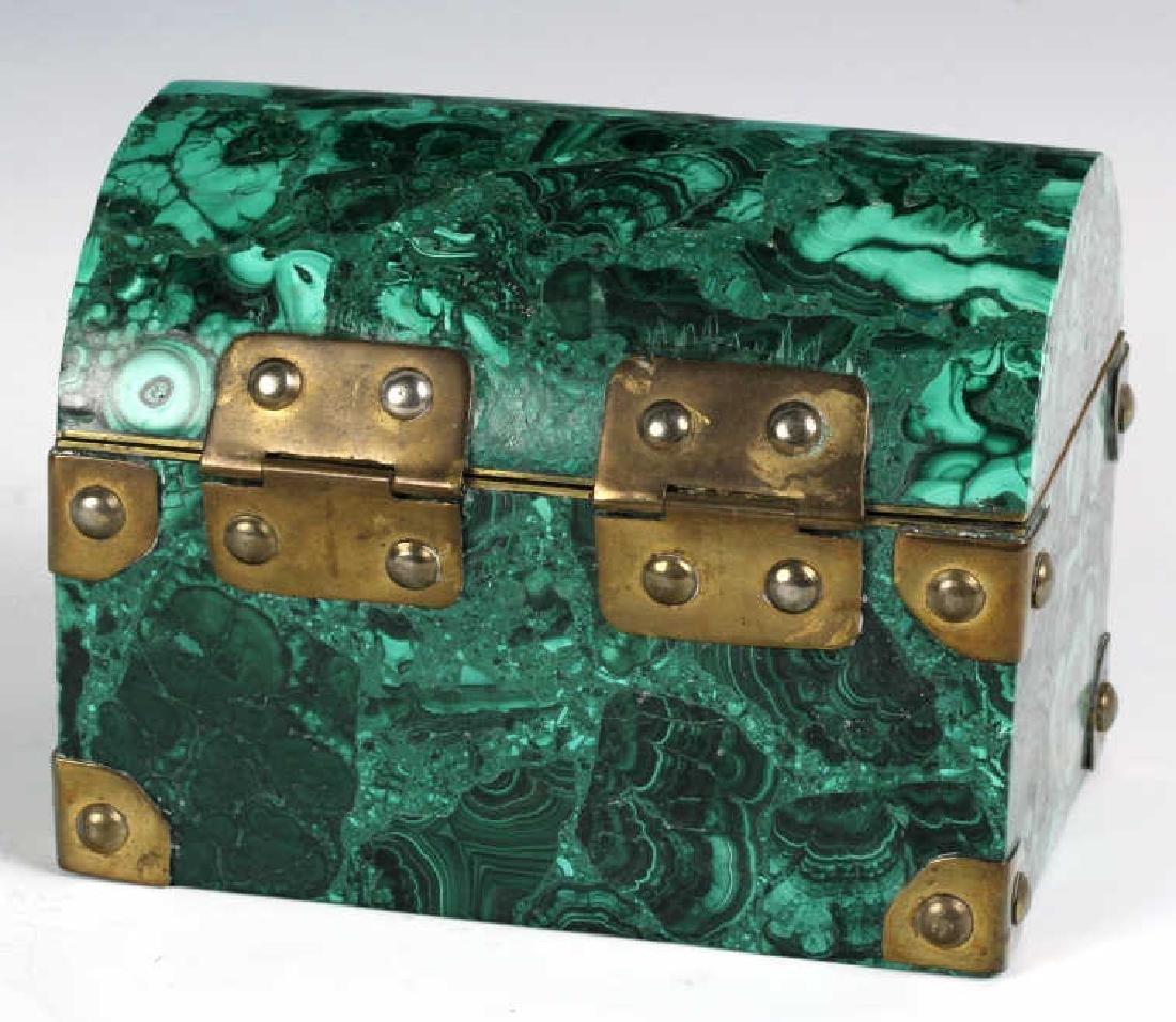 Rich Green Malachite Gemstone Treasure Chest Box - 5