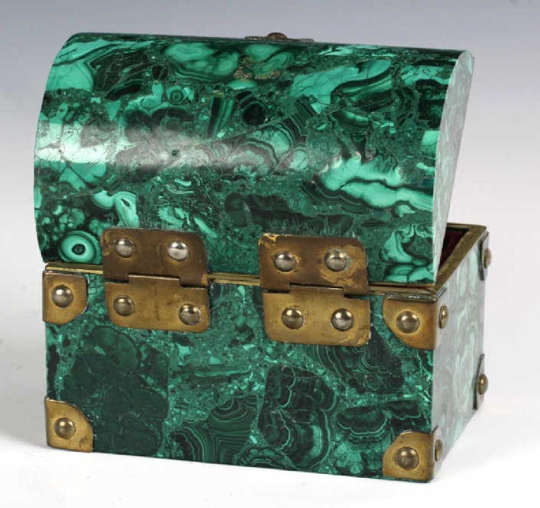 Rich Green Malachite Gemstone Treasure Chest Box - 6