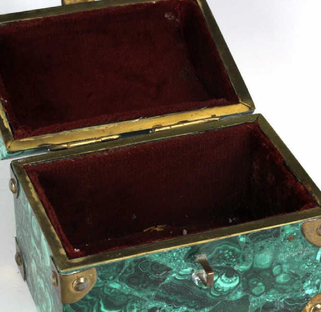 Rich Green Malachite Gemstone Treasure Chest Box - 7