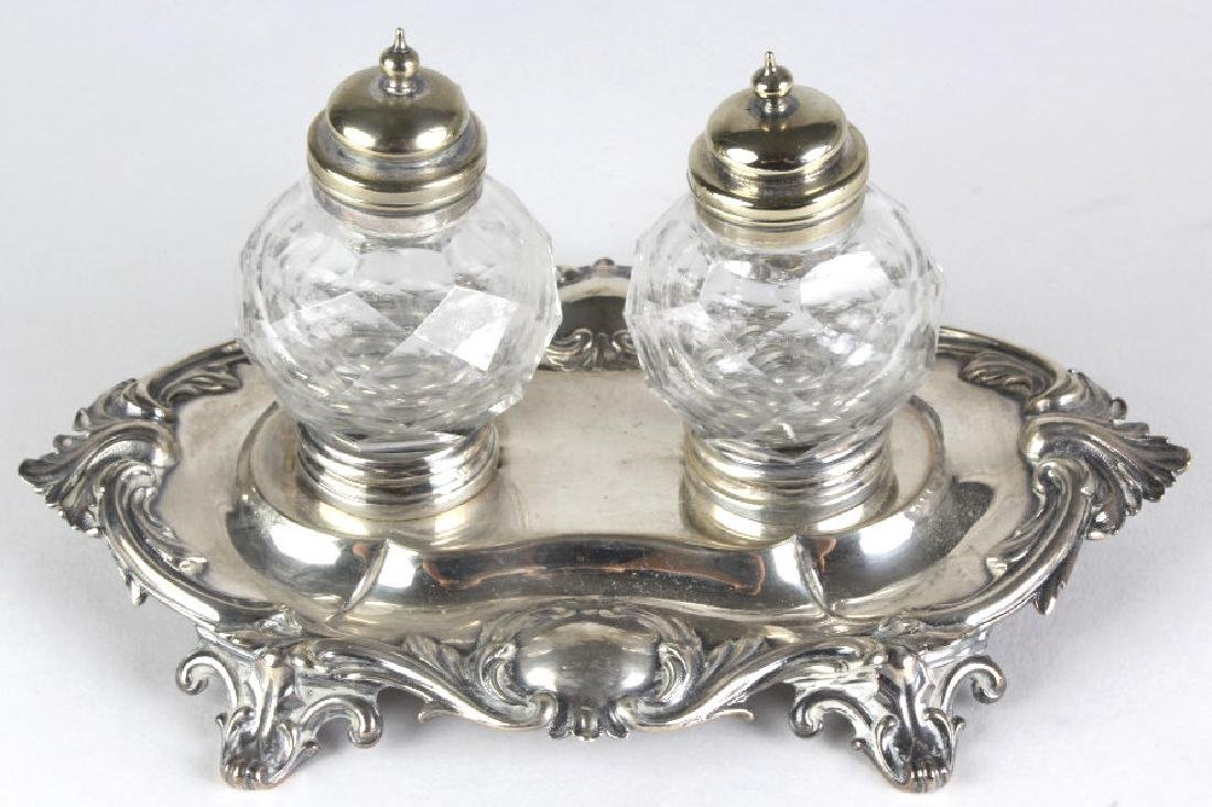 Antique English Sterling Silver Double Ink Well