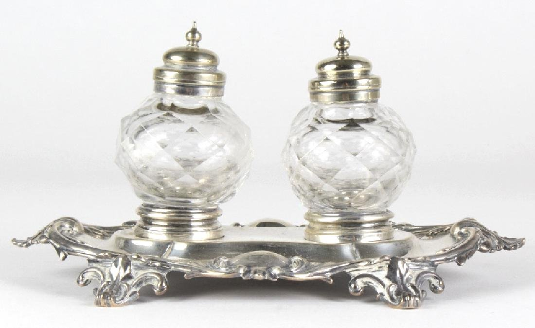 Antique English Sterling Silver Double Ink Well - 2