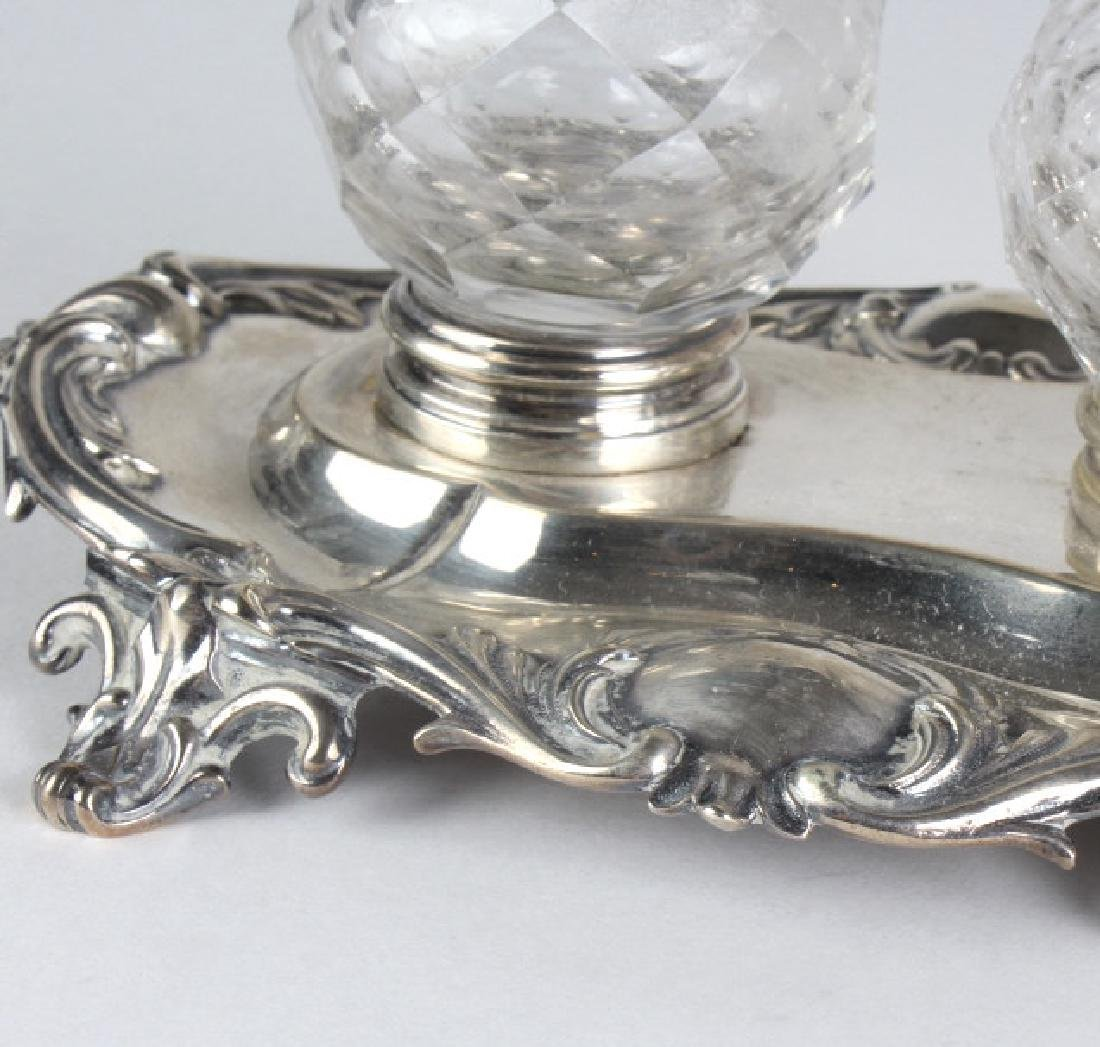 Antique English Sterling Silver Double Ink Well - 3