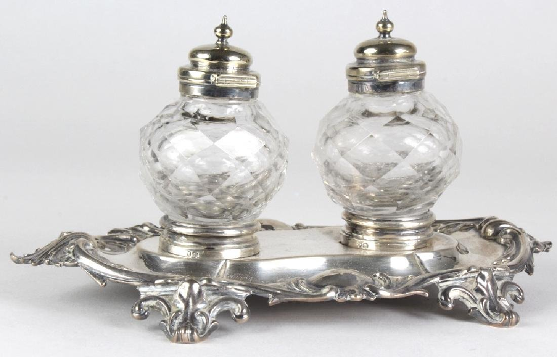 Antique English Sterling Silver Double Ink Well - 4