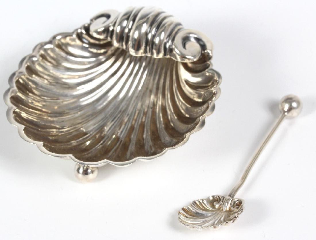 SET 4 English Silver Shell Salt Dip Cellar w Spoon - 3