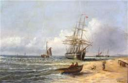 R Plumbe Signed Marine Seascape Ships Oil Painting