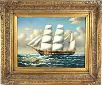 J Webb English Nautical Marine Ship Oil Painting