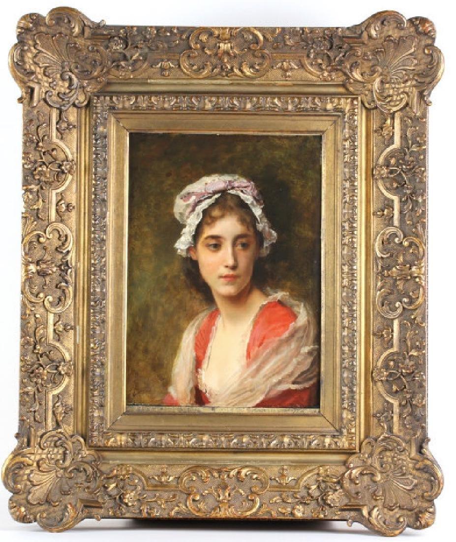 Gustave Jacquet Woman w Bonnet Portrait Painting
