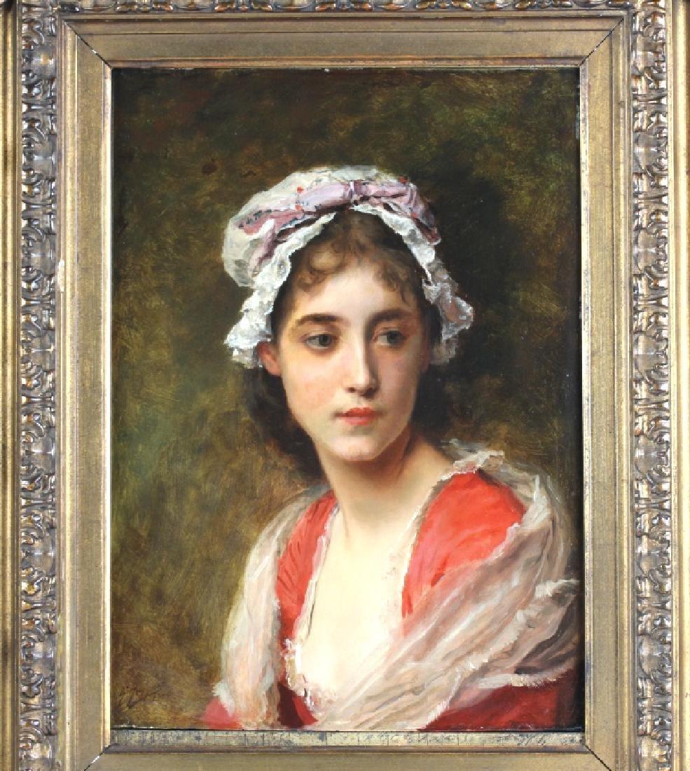 Gustave Jacquet Woman w Bonnet Portrait Painting - 2