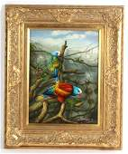 Exotic Jungle Parrot Bird Oil on Board Painting