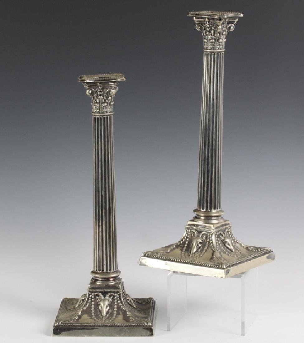 Pair Walker & Hall Empire Corinthian Candlesticks