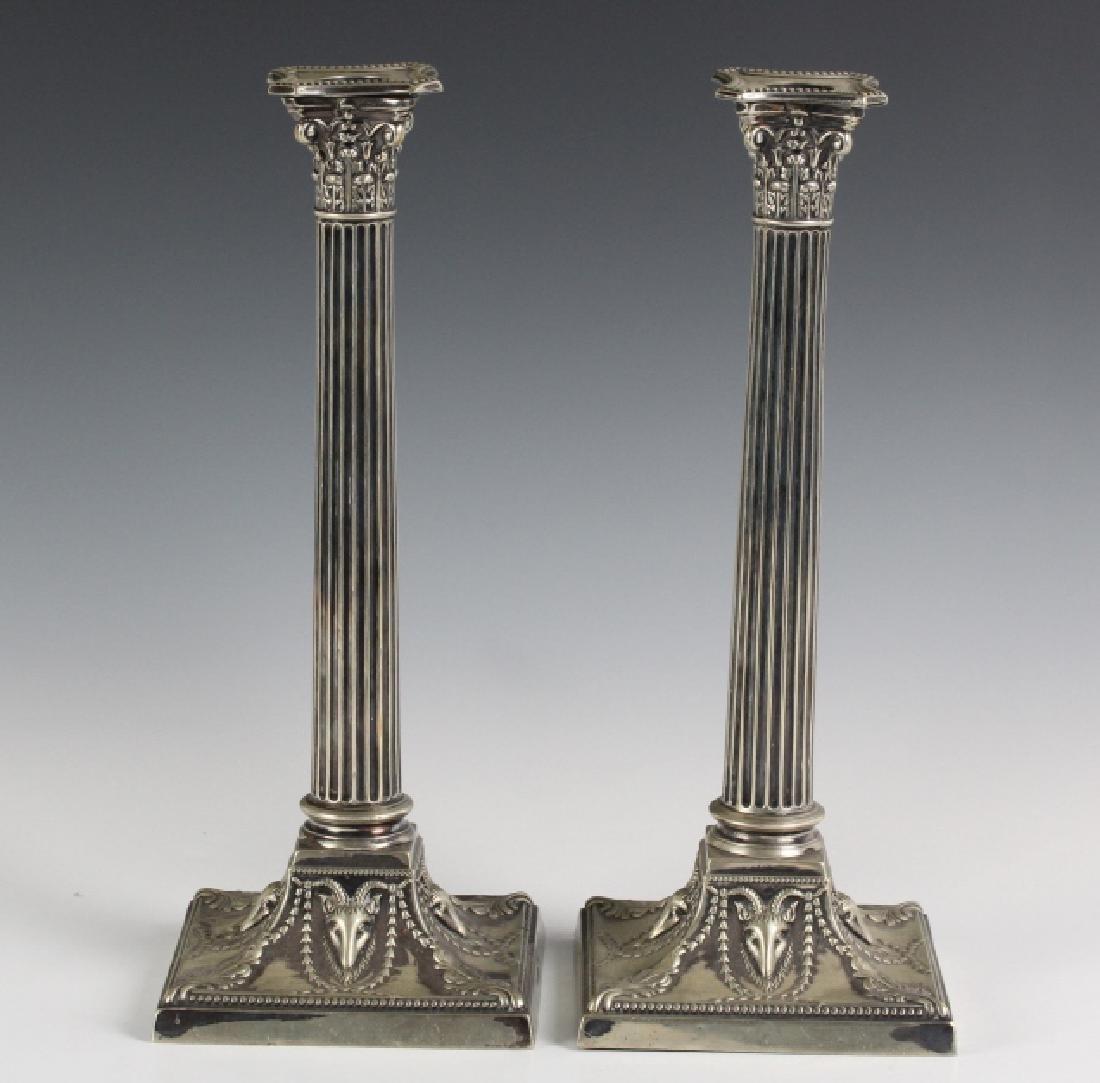 Pair Walker & Hall Empire Corinthian Candlesticks - 2