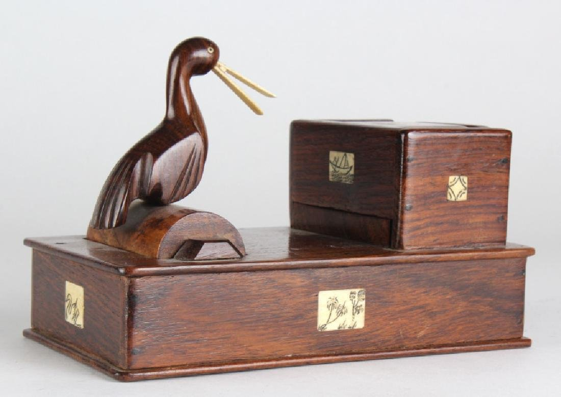Vtg Carved Wood Bird Tobacco Cigarette Dispenser