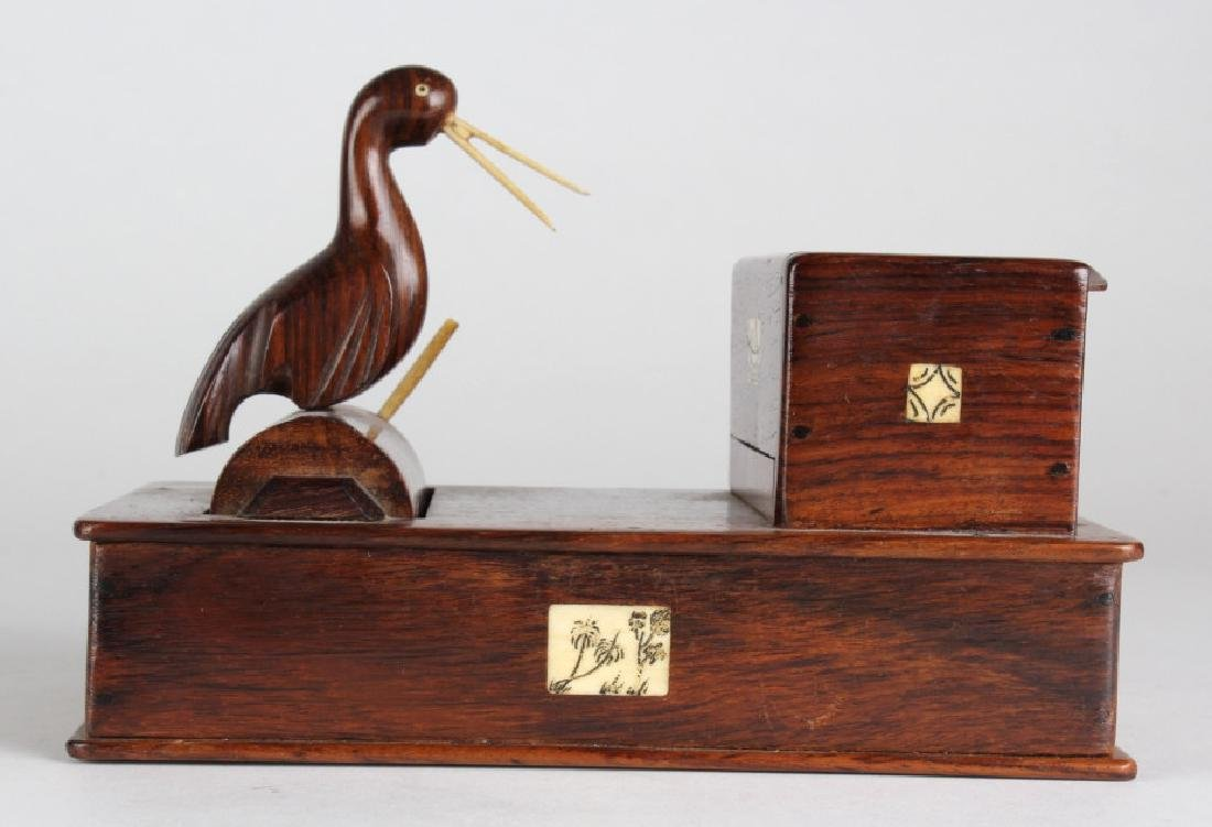 Vtg Carved Wood Bird Tobacco Cigarette Dispenser - 3
