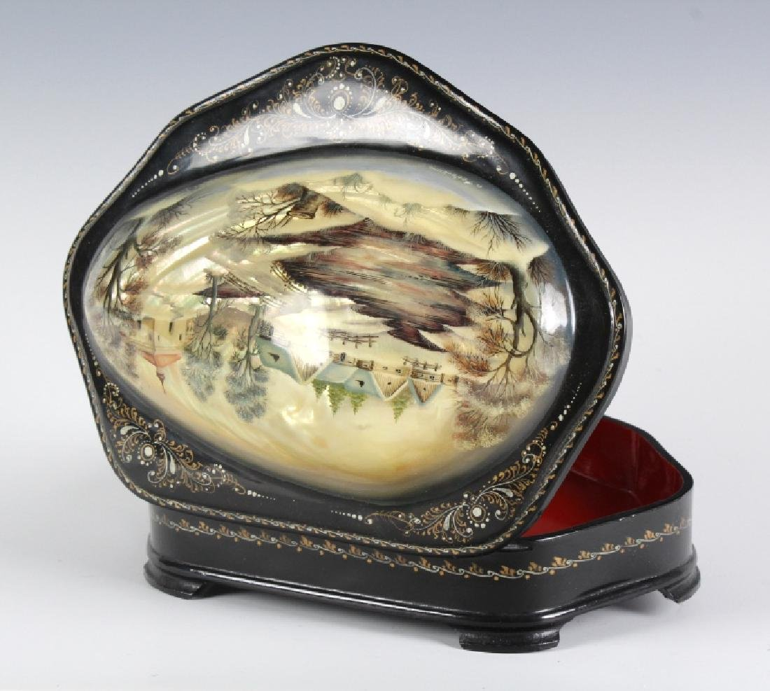 Fedoskino Russian Lacquer Shell Box Winter Scene