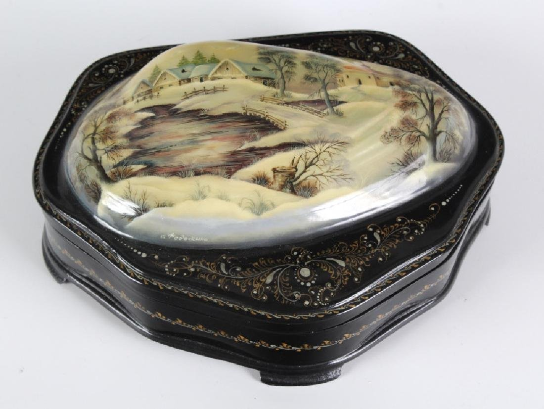 Fedoskino Russian Lacquer Shell Box Winter Scene - 5