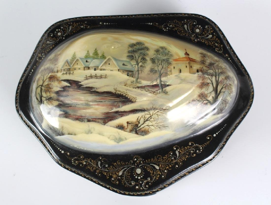 Fedoskino Russian Lacquer Shell Box Winter Scene - 6