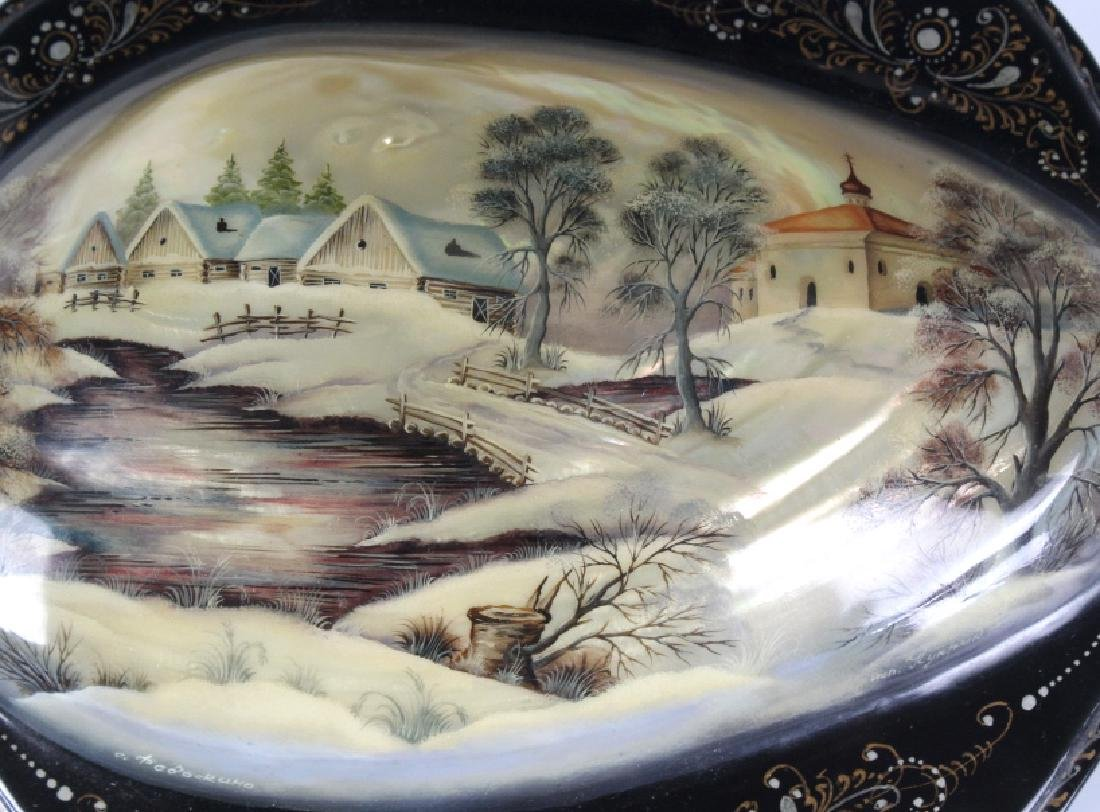 Fedoskino Russian Lacquer Shell Box Winter Scene - 7