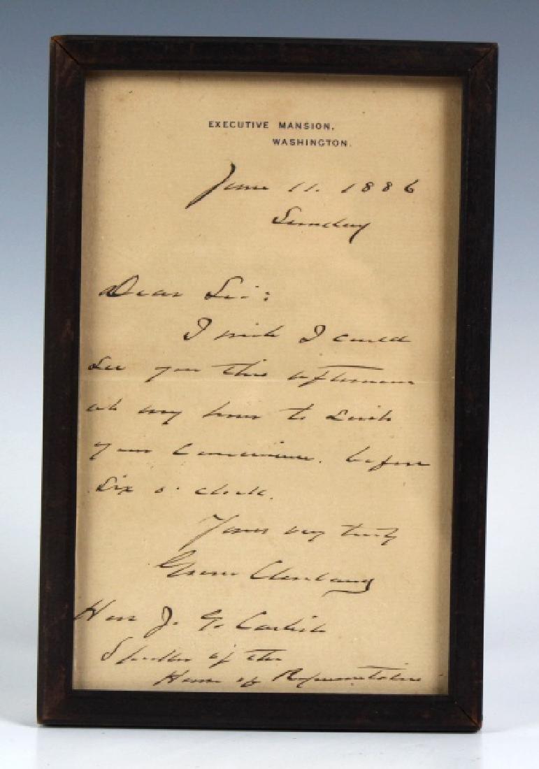 Signed Grover Cleveland Letter to Speaker Carlisle